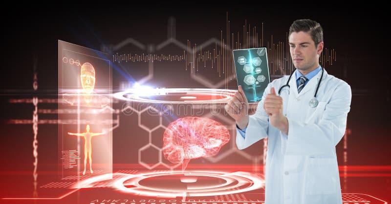 Cyfrowego złożony wizerunek patrzeje promieniowanie rentgenowskie z interfejs grafika w tle samiec lekarka obraz stock