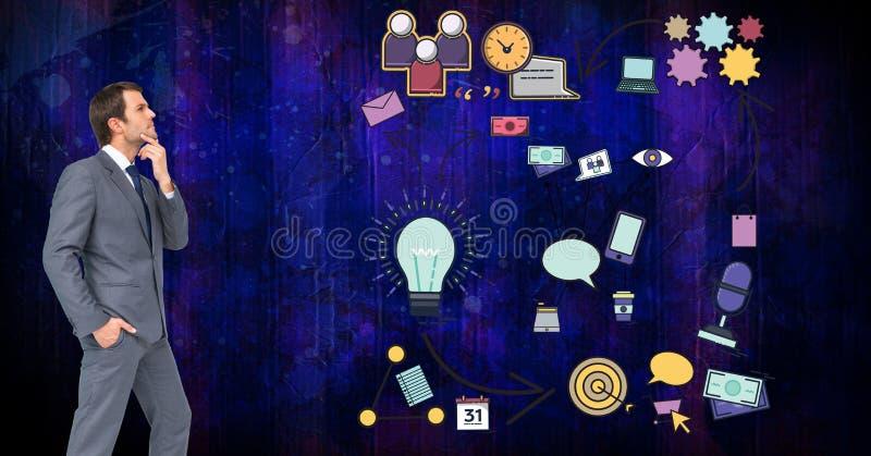 Cyfrowego złożony wizerunek patrzeje różnorodnych znaki zmieszany biznesmen ilustracja wektor