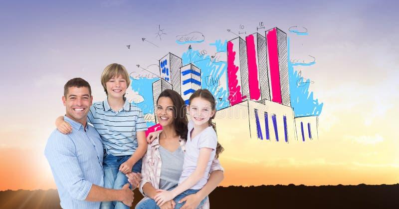 Cyfrowego złożony wizerunek rodzina z budynkiem w niebie zdjęcie royalty free