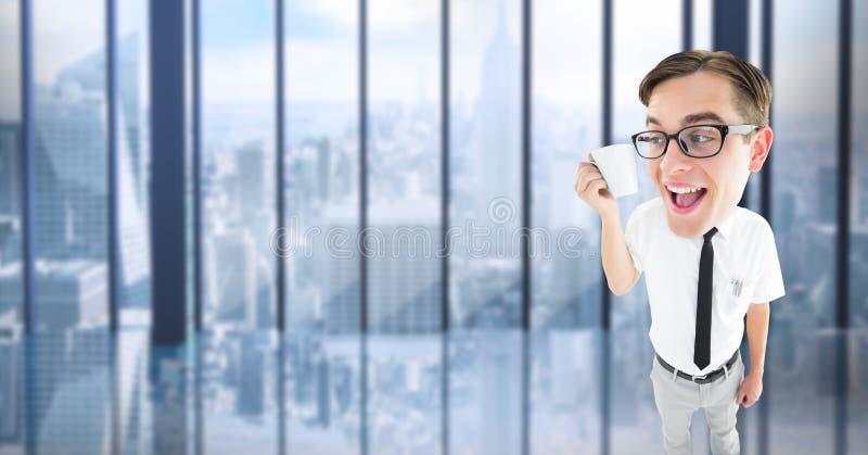 Cyfrowego złożony wizerunek trzyma filiżankę w biurze głupka biznesmen obraz stock