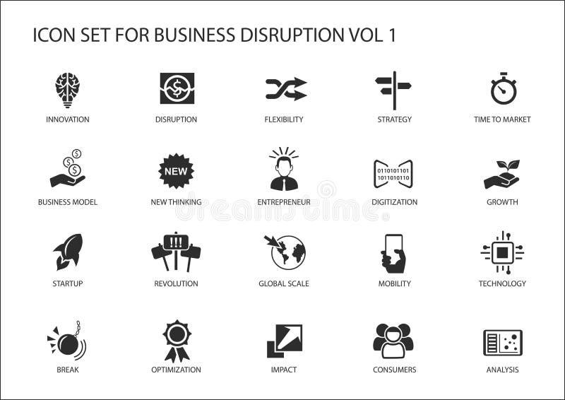 Cyfrowego zakłócenia ikony biznesowy set ilustracja wektor
