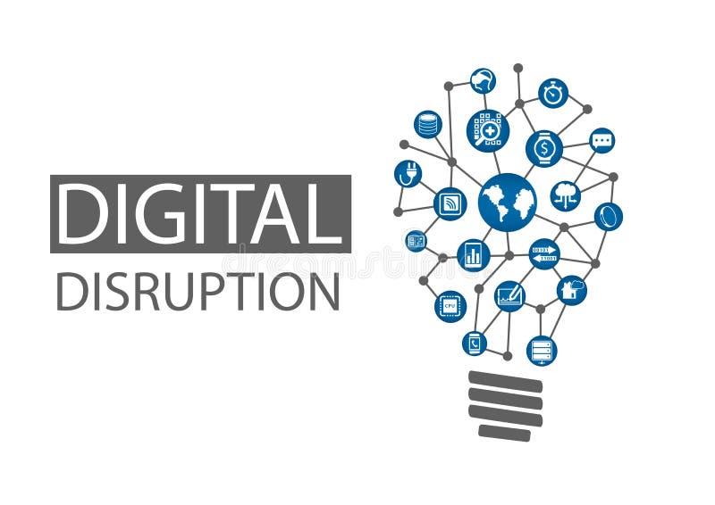 Cyfrowego zakłócenia ilustracja Pojęcie destrukcyjni biznesowi pomysły lubi obliczać wszędzie, analityka, mądrze maszyny ilustracja wektor