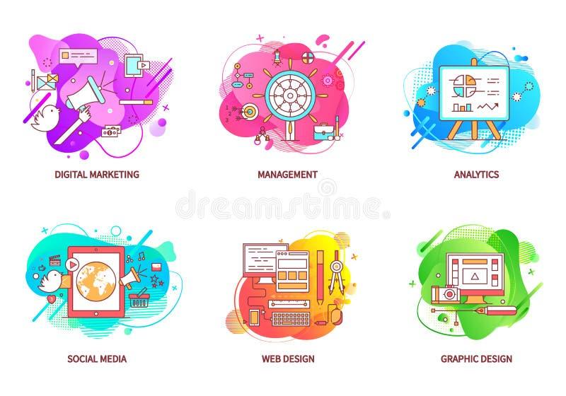 Cyfrowego zarządzania i marketingu sieci projekta set ilustracja wektor