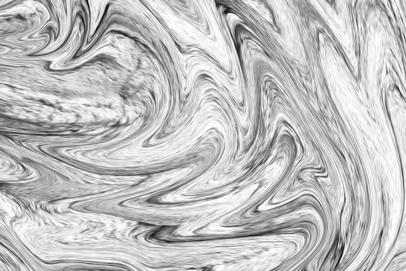 Cyfrowego zmroku Popielaty tło Z rozszerzaniem się Upłynnia przepływ Czarny I Biały koloru Liquifying wzór ilustracji