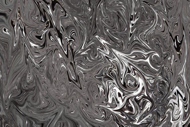 Cyfrowego zmroku Popielaty tło Z rozszerzaniem się Upłynnia przepływ Czarny I Biały koloru Liquifying wzór ilustracja wektor