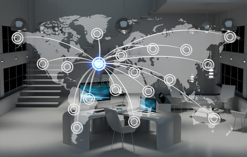 Cyfrowej światowa mapa unosi się w biurowym 3D renderingu ilustracja wektor