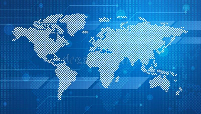 Cyfrowej światowej mapy technologii styl ilustracji