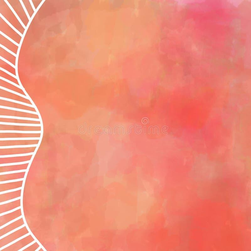 Cyfrowej akwareli obraz w ciepłych jesień kolorach pomarańczowa czerwień i kolor żółty z biel granicy projektem prosto i wyginać  royalty ilustracja