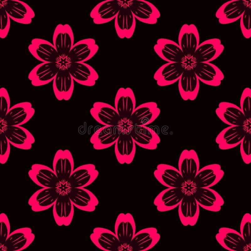 Cyfrowej czerwień kwitnie prostego bezszwowego wzór na czerni ilustracja wektor