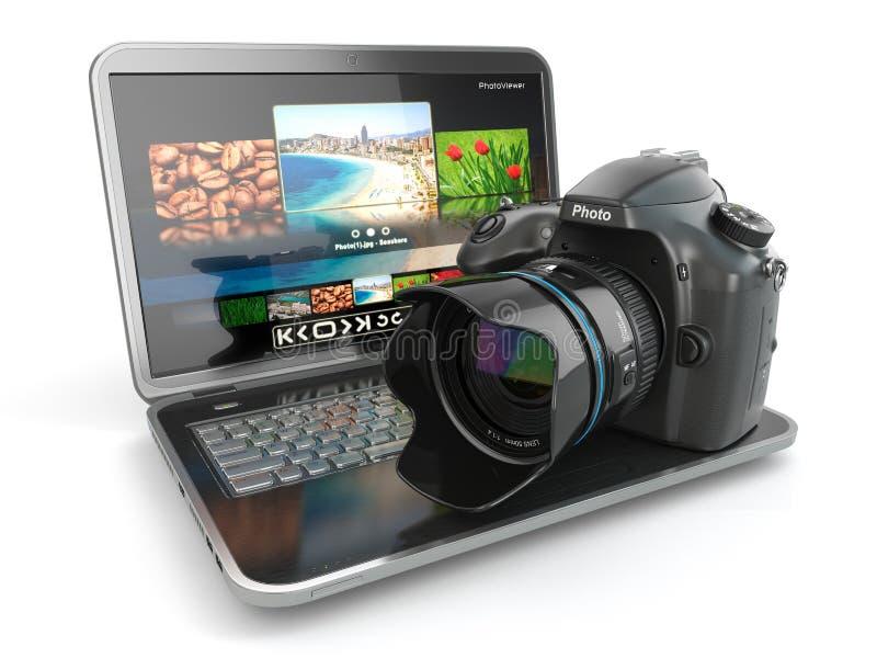Cyfrowej fotografii laptop i kamera. Dziennikarza lub podróżnika equipm ilustracja wektor