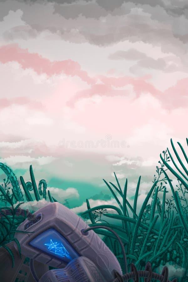 Cyfrowej futurystyczna ilustracja ranku mgłowy krajobraz z zabijać robotem pod ilustracji