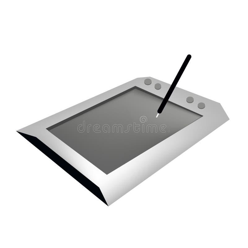 Cyfrowej Graficzna pastylka z piórem na Białym tle ilustracji