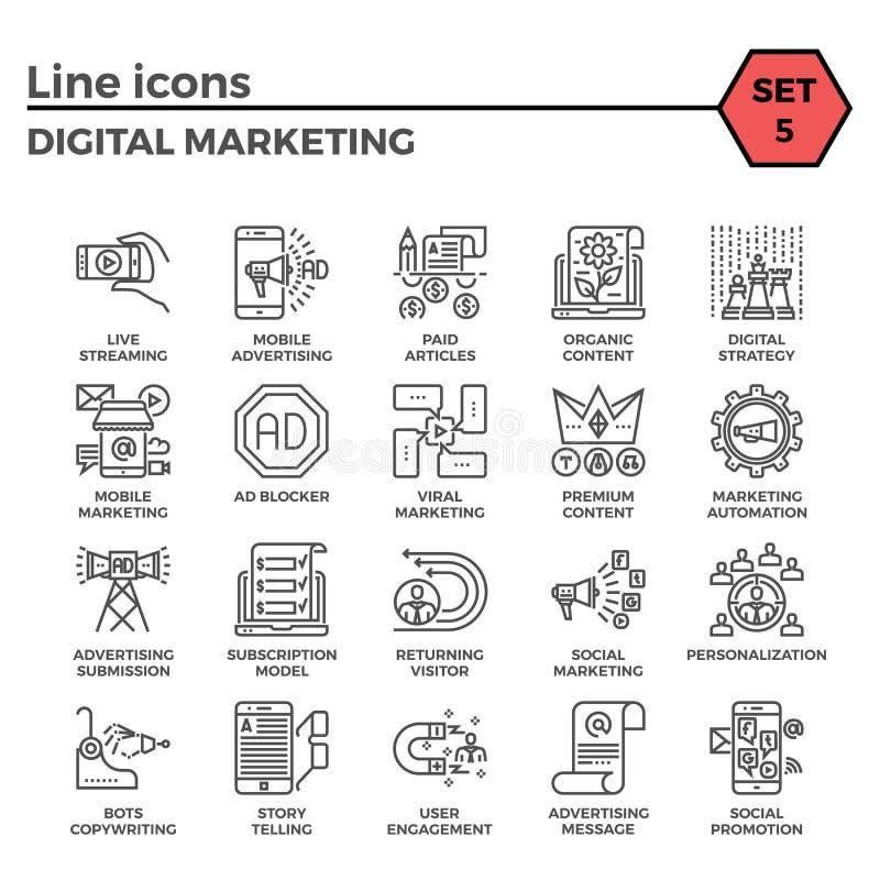 Cyfrowej ikony marketingowy set ilustracja wektor