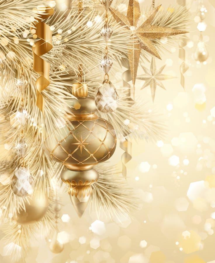 Cyfrowej ilustracja, błyska złotego świątecznego tło, bokeh ilustracji