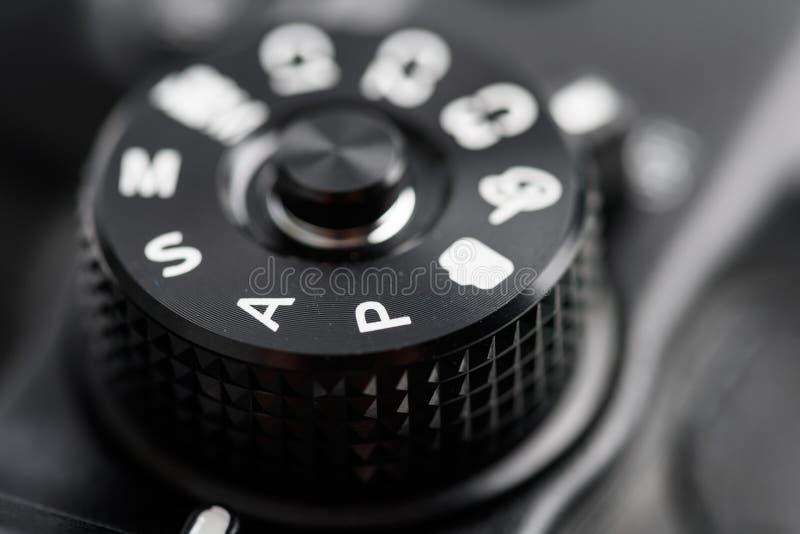 Cyfrowej kamery Kontrolna tarcza Pokazuje aperturę, żaluzi prędkość, manuał i programów tryby, fotografia stock