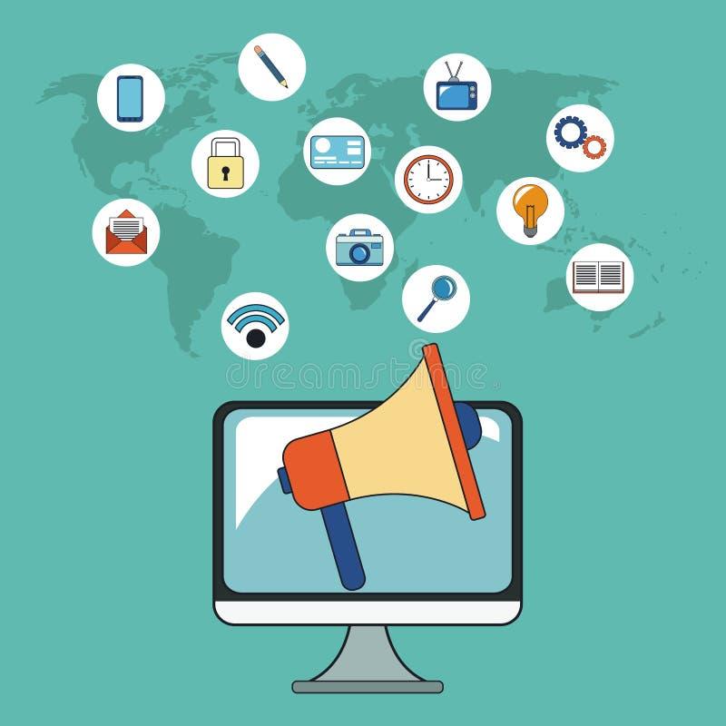 Cyfrowej kampanii marketingowej socjalny sieć ilustracji