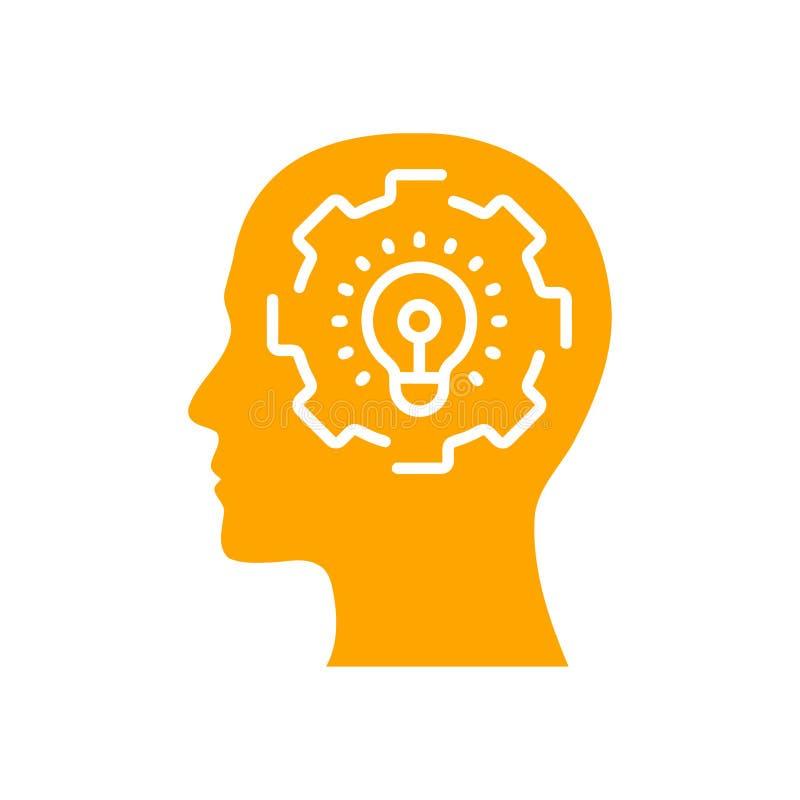 Cyfrowej ludzka głowa, mózg, technologia, mężczyzna, głowa, pamięć, technologia Kreatywnie umysłu koloru pomarańczowa ikona ilustracja wektor