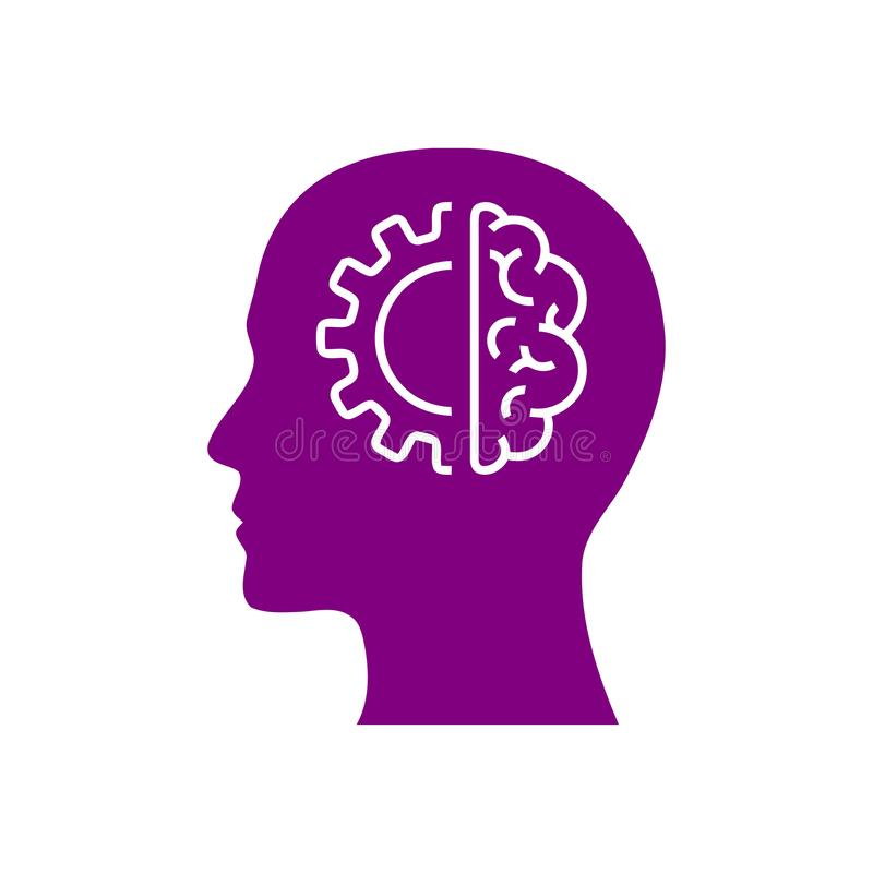 Cyfrowej ludzka głowa, mózg, technologia, mężczyzna, głowa, pamięć, technologia umysłu Kreatywnie purpura barwi ikonę ilustracja wektor
