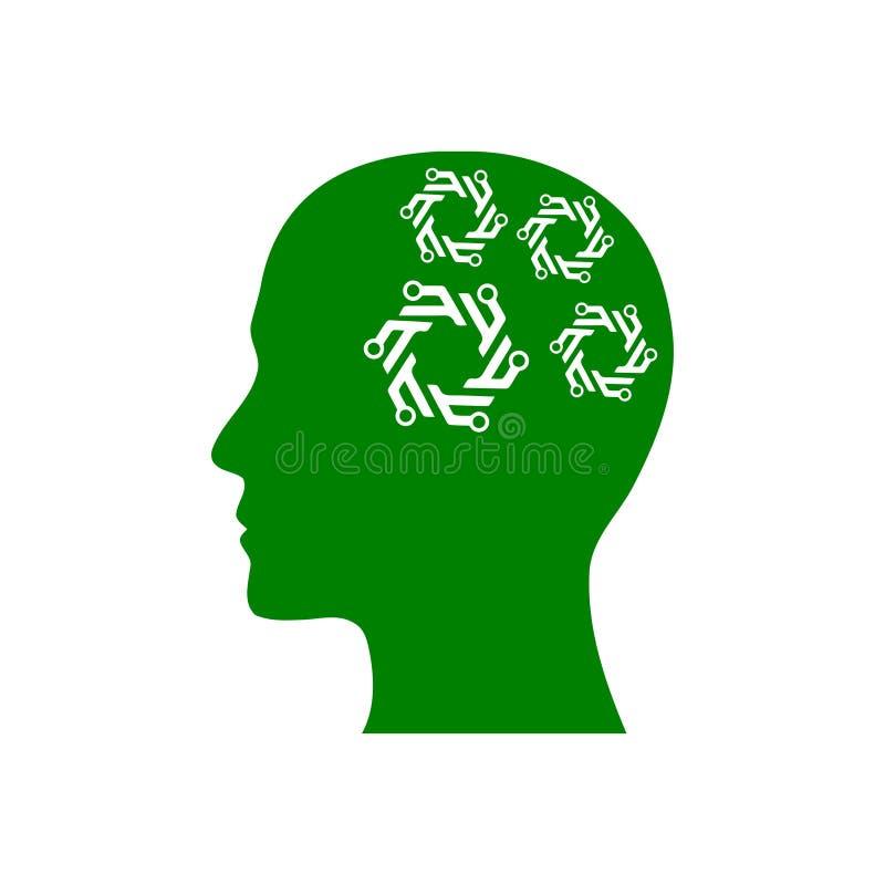 Cyfrowej ludzka głowa, mózg, technologia, mężczyzna, głowa, pamięć, technologia umysłu zielonego koloru Kreatywnie ikona ilustracji