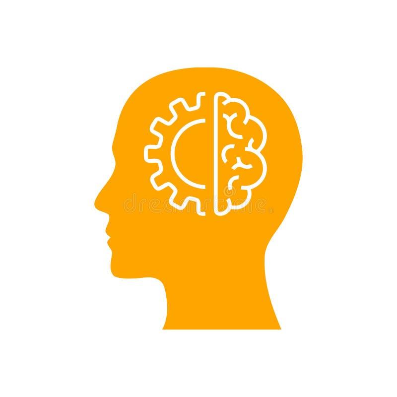 Cyfrowej ludzka g?owa, m?zg, technologia, m??czyzna, g?owa, pami??, technologia Kreatywnie umys?u koloru pomara?czowa ikona ilustracji
