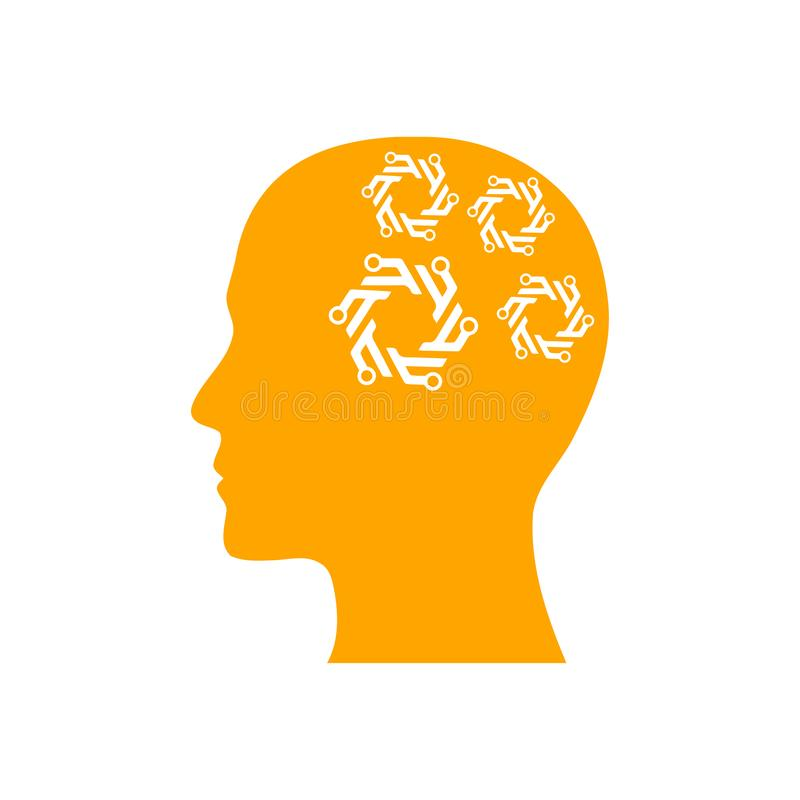 Cyfrowej ludzka g?owa, m?zg, technologia, m??czyzna, g?owa, pami??, technologia Kreatywnie umys?u koloru pomara?czowa ikona ilustracja wektor