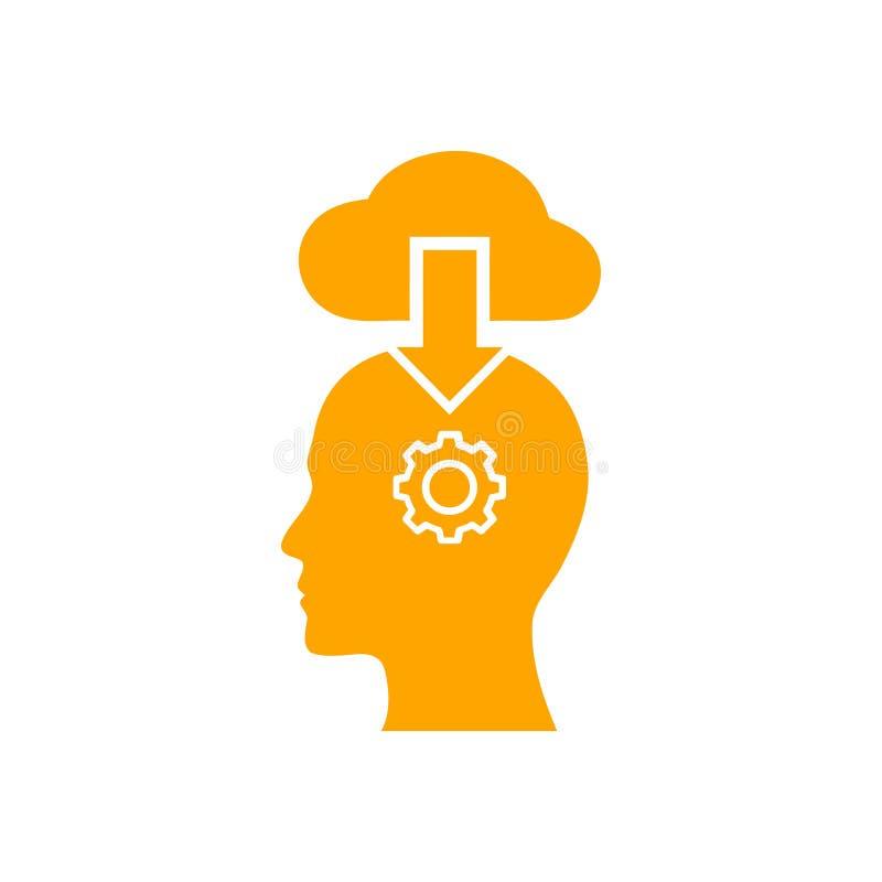 Cyfrowej ludzka g?owa, m?zg, technologia, m??czyzna, g?owa, pami??, technologia Kreatywnie umys?u koloru pomara?czowa ikona royalty ilustracja