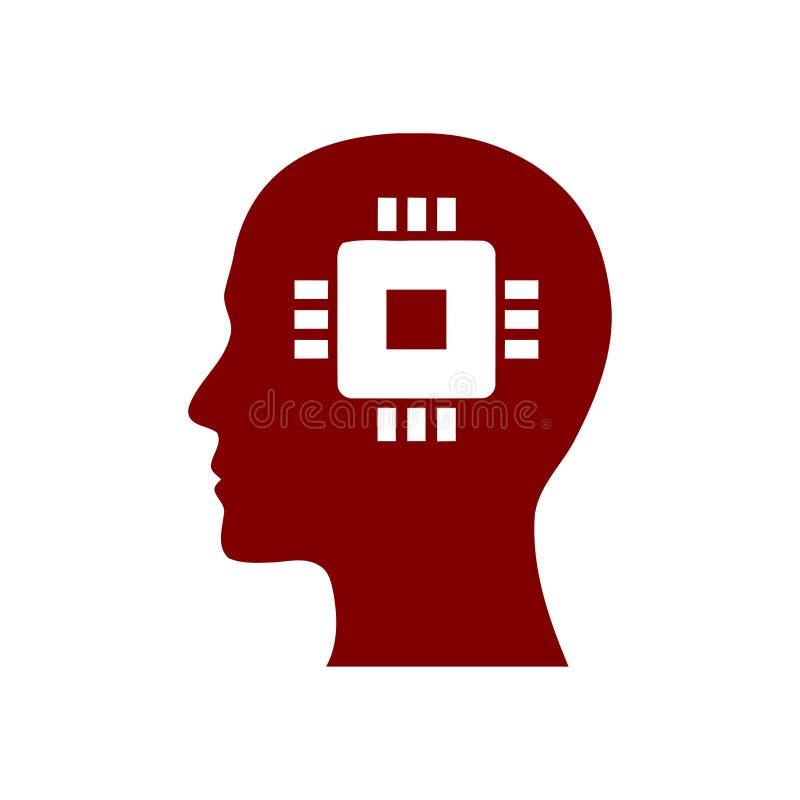 Cyfrowej ludzka g?owa, m?zg, technologia, m??czyzna, g?owa, pami??, technologia Kreatywnie umys? wa?koni si? kolor ikon? ilustracja wektor