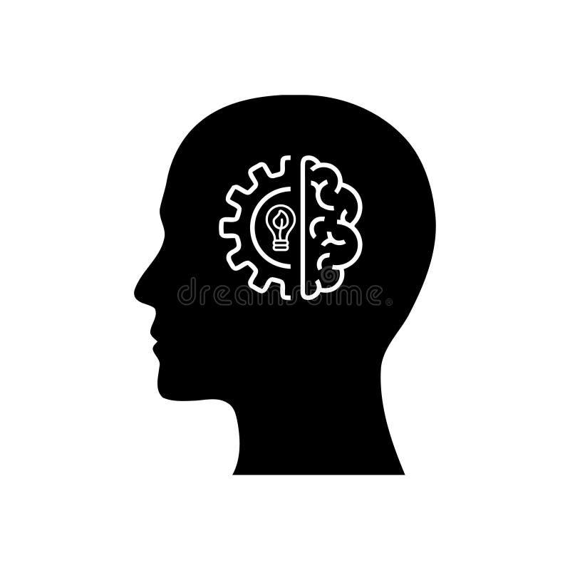 Cyfrowej ludzka g?owa, m?zg, technologia, m??czyzna, g?owa, pami??, technologia umys?u czerni koloru Kreatywnie ikona ilustracji