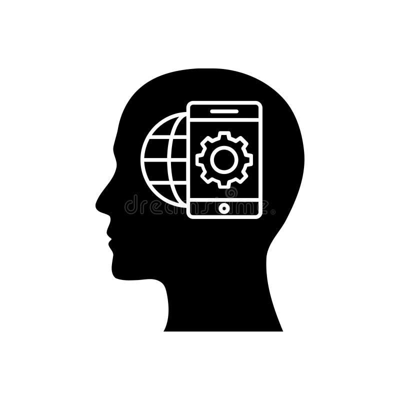 Cyfrowej ludzka g?owa, m?zg, technologia, m??czyzna, g?owa, pami??, technologia umys?u czerni koloru Kreatywnie ikona ilustracja wektor