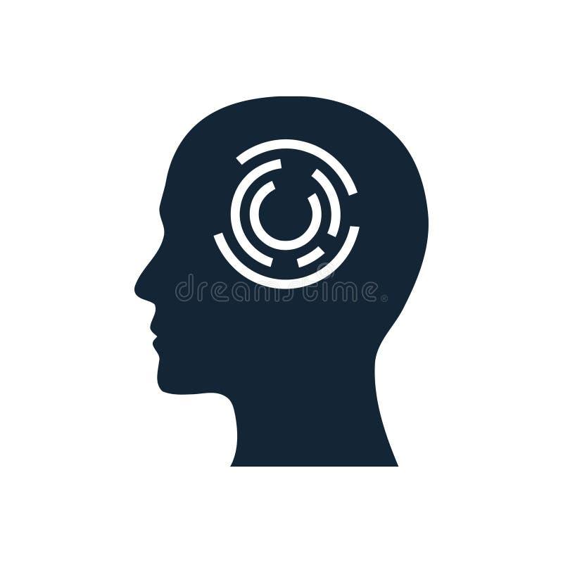 Cyfrowej ludzka g?owa, m?zg, technologia, m??czyzna, g?owa, pami??, technologia umys?u Kreatywnie ikona royalty ilustracja