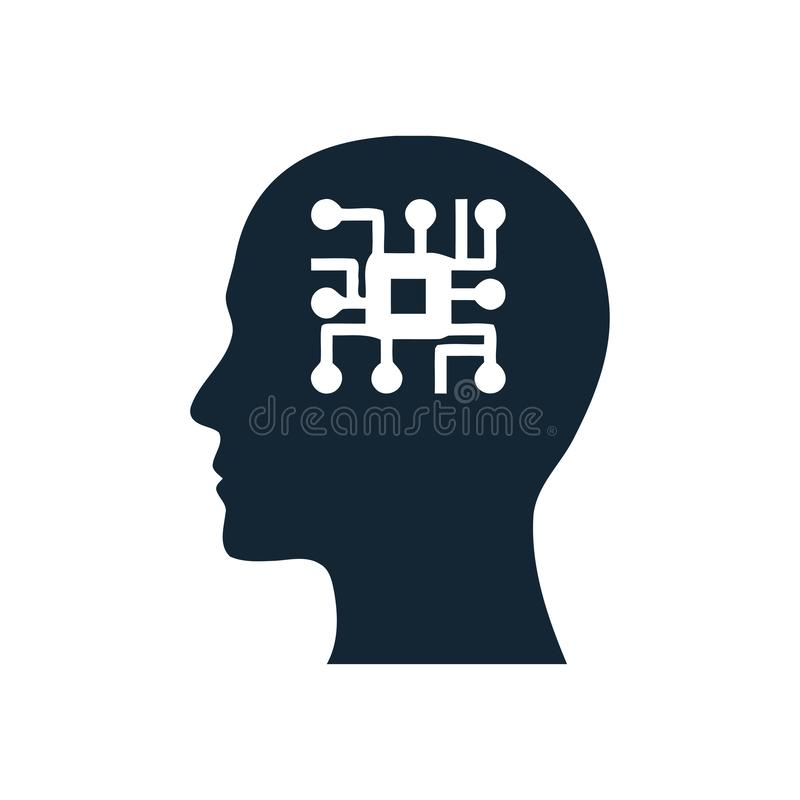 Cyfrowej ludzka g?owa, m?zg, technologia, m??czyzna, g?owa, pami??, technologia umys?u Kreatywnie ikona ilustracji