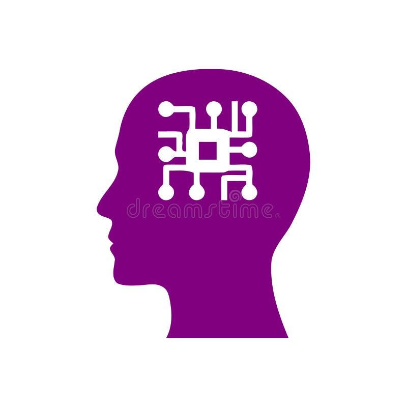 Cyfrowej ludzka g?owa, m?zg, technologia, m??czyzna, g?owa, pami??, technologia umys?u Kreatywnie purpura barwi ikon? ilustracja wektor