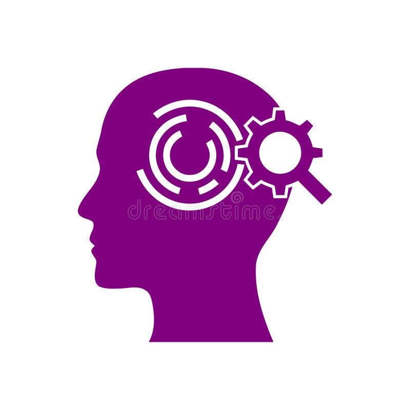 Cyfrowej ludzka g?owa, m?zg, technologia, m??czyzna, g?owa, pami??, technologia umys?u Kreatywnie purpura barwi ikon? royalty ilustracja