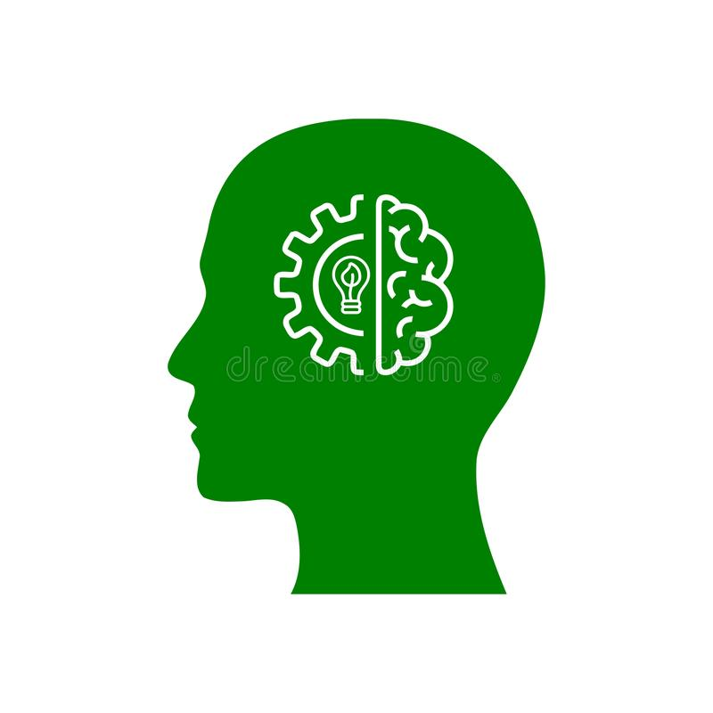 Cyfrowej ludzka g?owa, m?zg, technologia, m??czyzna, g?owa, pami??, technologia umys?u zielonego koloru Kreatywnie ikona royalty ilustracja