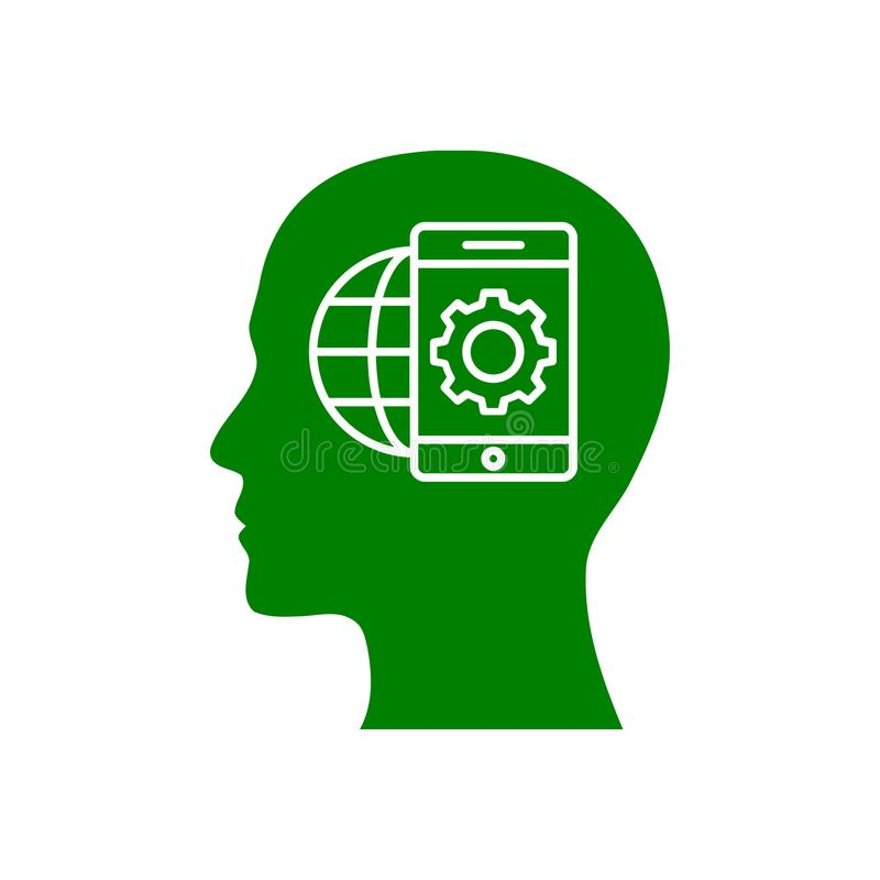 Cyfrowej ludzka g?owa, m?zg, technologia, m??czyzna, g?owa, pami??, technologia umys?u zielonego koloru Kreatywnie ikona ilustracja wektor