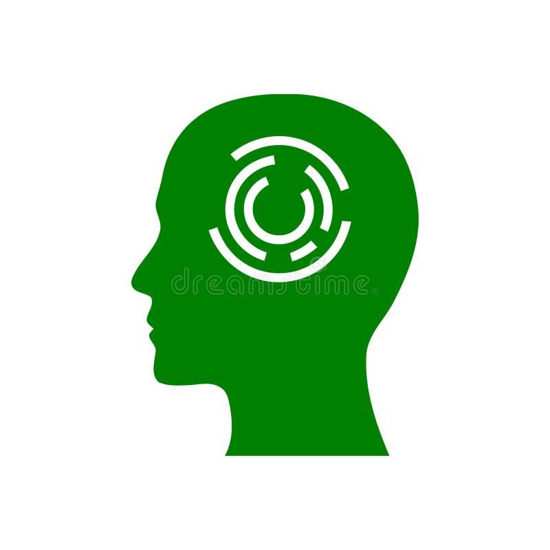 Cyfrowej ludzka g?owa, m?zg, technologia, m??czyzna, g?owa, pami??, technologia umys?u zielonego koloru Kreatywnie ikona ilustracji
