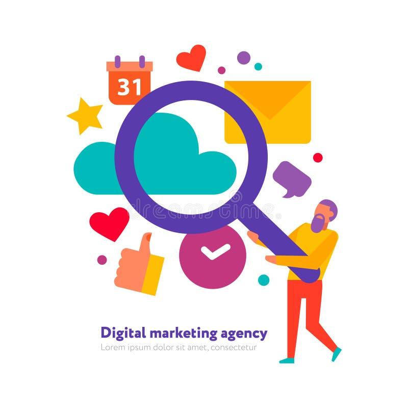 Cyfrowej Marketingowa Agencyjna ilustracja royalty ilustracja