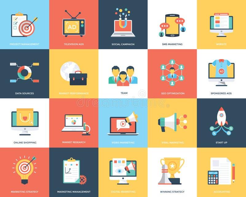 Cyfrowej Marketingowa Płaska Wektorowa Ilustracyjna kolekcja royalty ilustracja