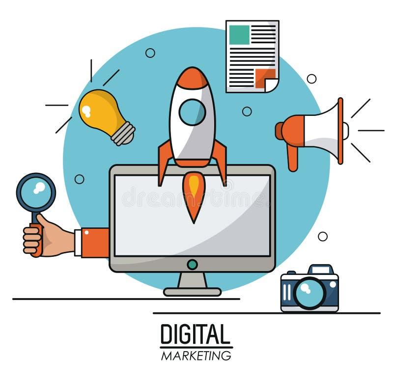 Cyfrowej marketingowej informatyki online system informacyjny ilustracja wektor