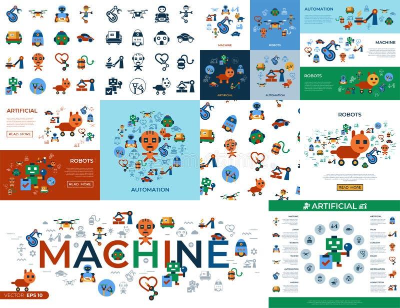 Cyfrowej maszyny automatyzacja ilustracja wektor