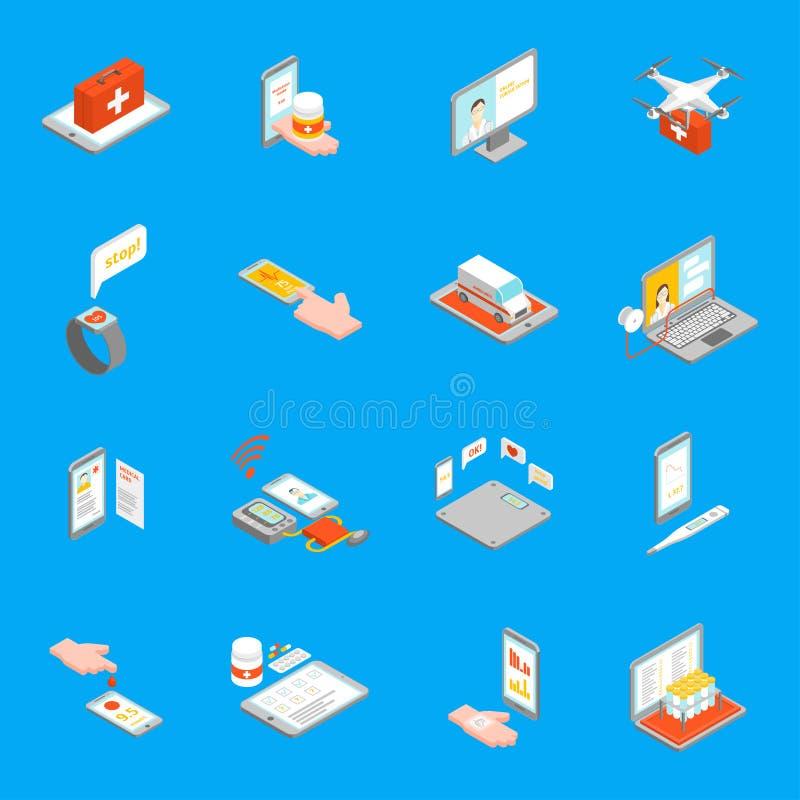 Cyfrowej medycyny 3d ikony Ustawiają Isometric widok wektor ilustracja wektor