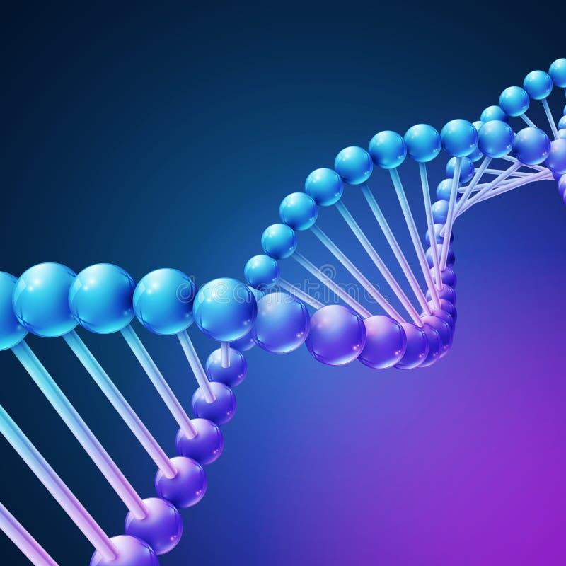Cyfrowej natura, nauki medyczne wektorowy tło z DNA molekułami royalty ilustracja