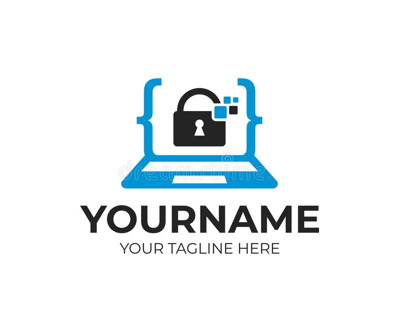 Cyfrowej ochrona, anty siekać, kodować, laptop z kędziorka inside i piksle, loga szablon Internetowy ochrony i dane protectio royalty ilustracja
