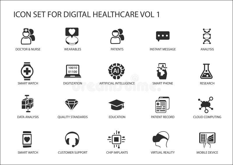 Cyfrowej opieka zdrowotna i medycyny ikony set ilustracja wektor