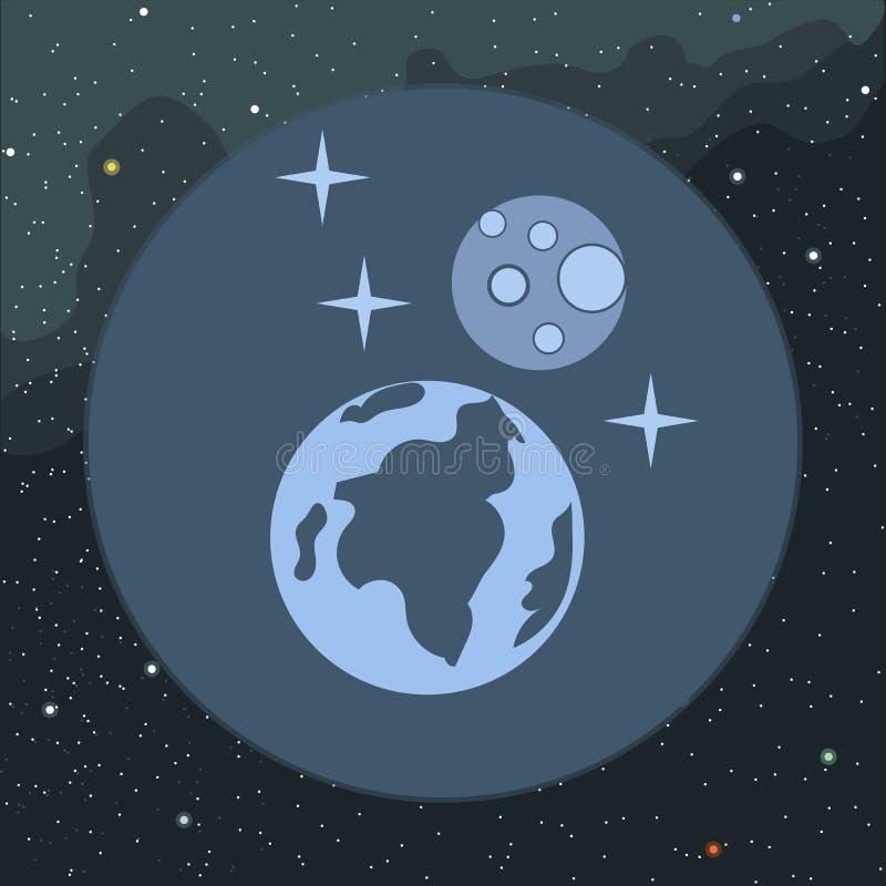 Cyfrowej planety ziemi wektorowa ikona z gwiazdami royalty ilustracja