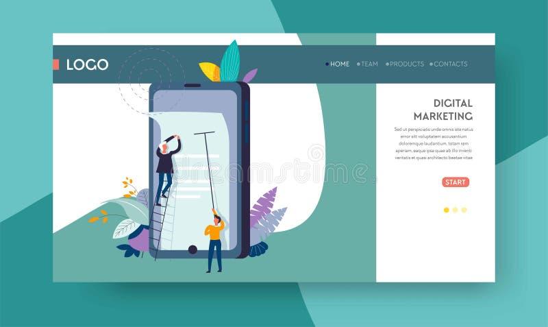 Cyfrowej reklamy strony internetowej marketingowy online szablon ilustracji