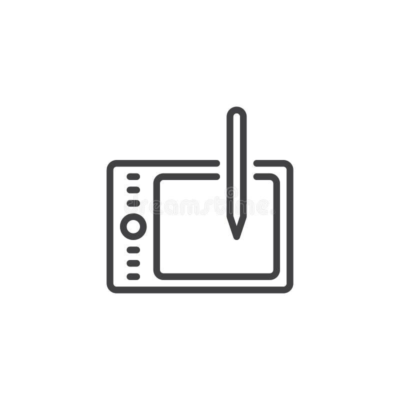 Cyfrowej rysownicy konturu ikona ilustracja wektor