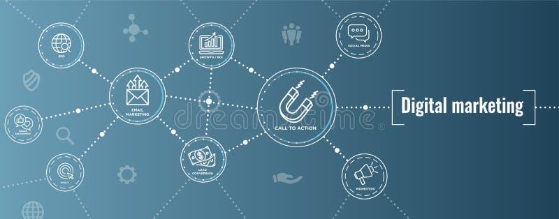 Cyfrowej sieci Przylatującego Marketingowego sztandaru w Wektorowe ikony z CTA, Gr ilustracji