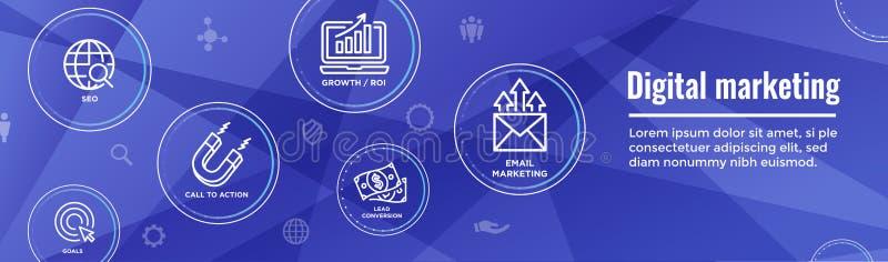 Cyfrowej sieci Przylatującego Marketingowego sztandaru w Wektorowe ikony z CTA, Gr ilustracja wektor