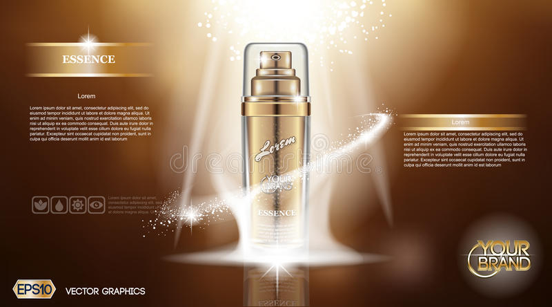 Cyfrowej szklanej butelki kiści wektorowa złota esencja ilustracja wektor